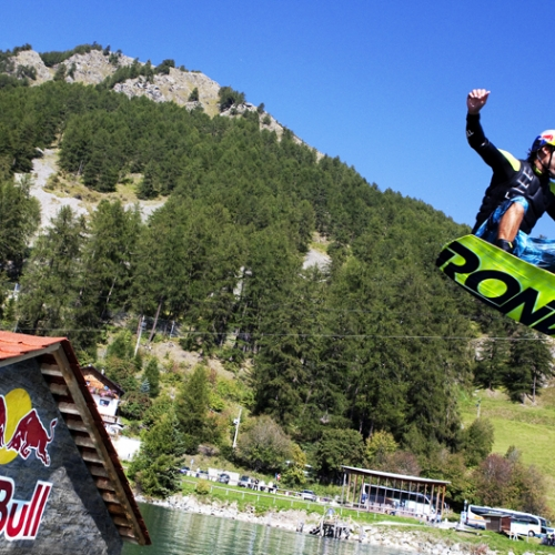 Duncan Zuur wakeboarding in Curon Reschen lake italy on 15th semptember action